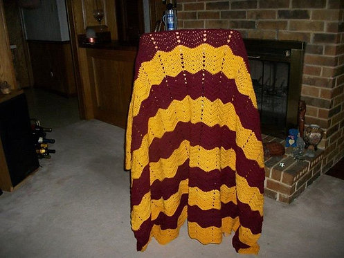 Maroon and Gold Afghan