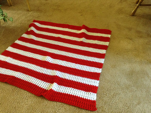 red and white child afghan