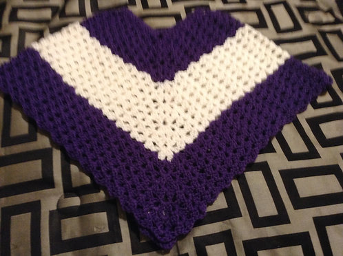 purple and white child poncho
