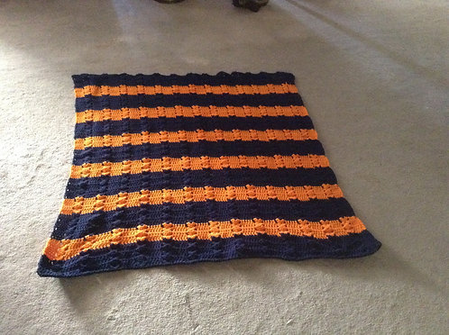 navy and orange child afghan