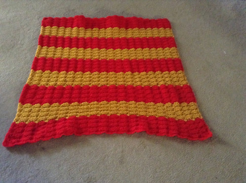 red and gold child afghan