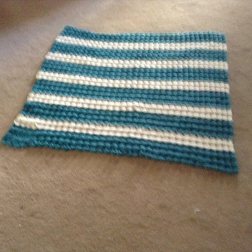 turquoise and white child afghan