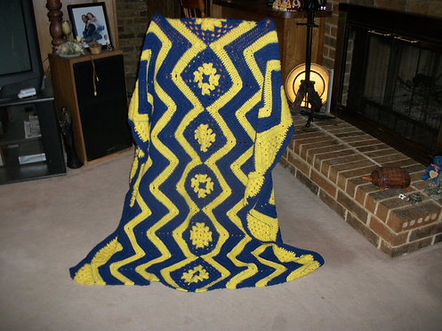 Blue and Yellow Afghan