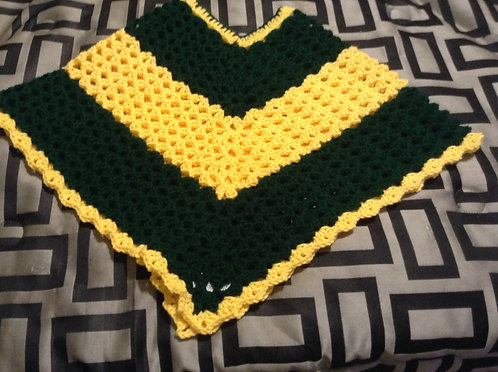 green and yellow child poncho