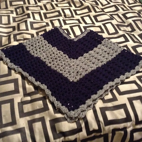 blue and gray child poncho