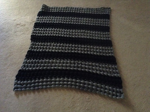 gray and black child afghan