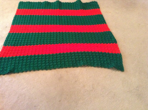 green and red child afghan