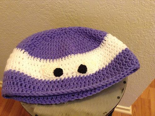 purple and white Ninja Turtle hat