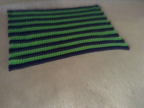 navy and green child afghan