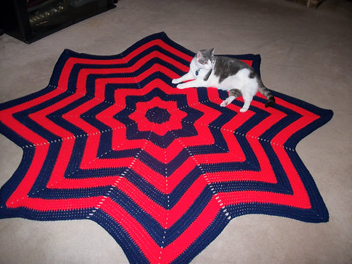 Blue and Red Round Afghan