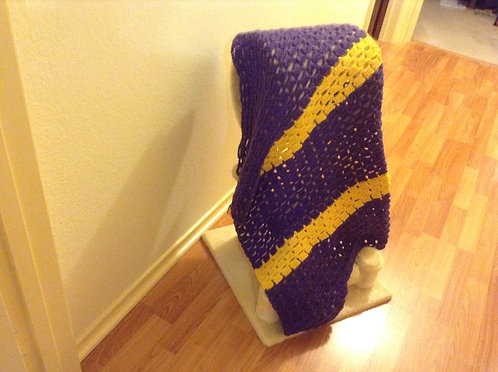 purple and yellow child afghan