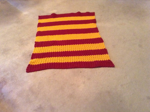 burgundy and gold child afghan