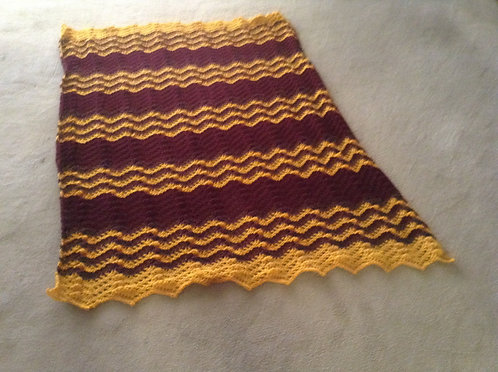 gold and maroon ripple afghan