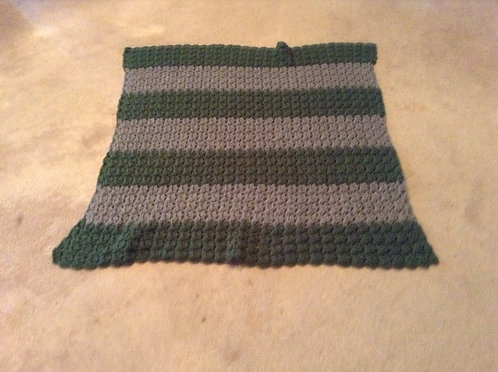 green and gray child afghan