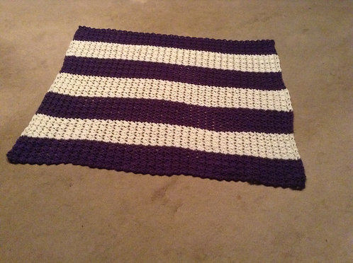 purple and white child afghan