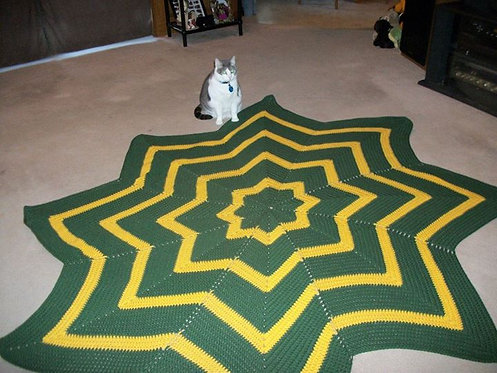 Green and Yellow Round Ripple Afghan