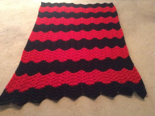 Black/red ribbed ripple reversible