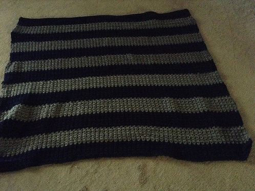navy and gray child afghan