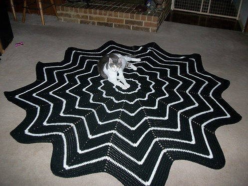 9 Point Black and White Afghan