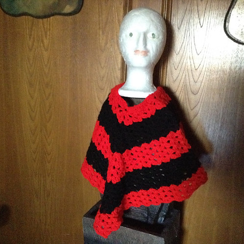 Red/black Child Poncho
