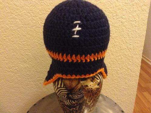 blue and orange football helmet hat