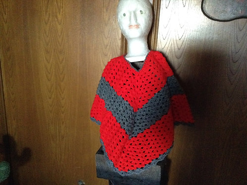 Gray and Red Child Poncho