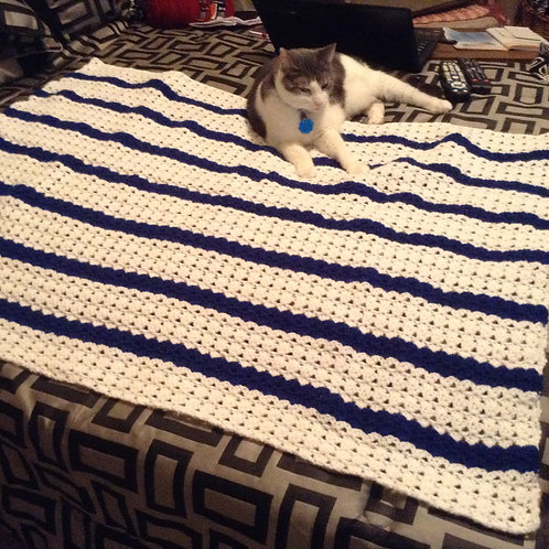 white and royal child afghan