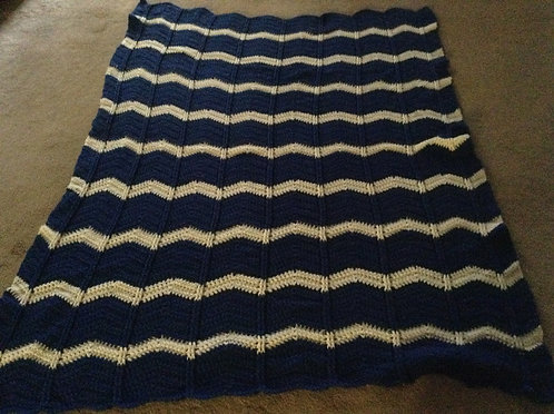 royal blue  and white afghan
