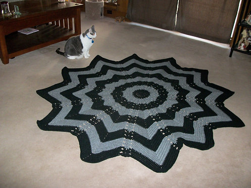 black and gray round afghan