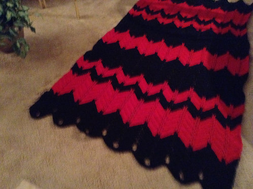 Red and Black Jacob's Ladder Afghan