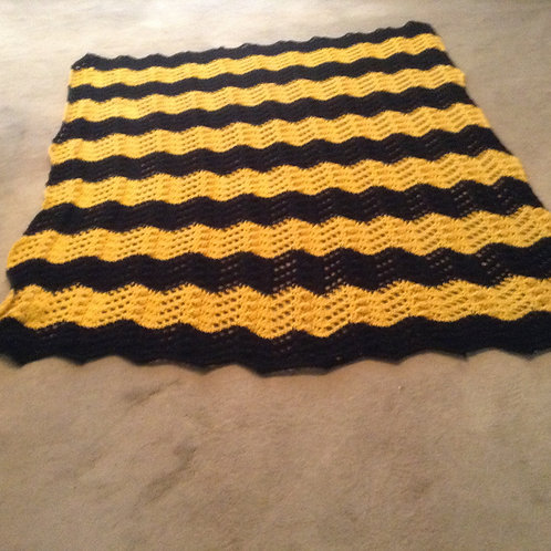 black and yellow ripple afghan