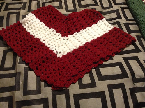 maroon and white child poncho