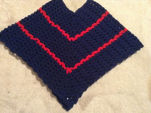 blue and red child poncho