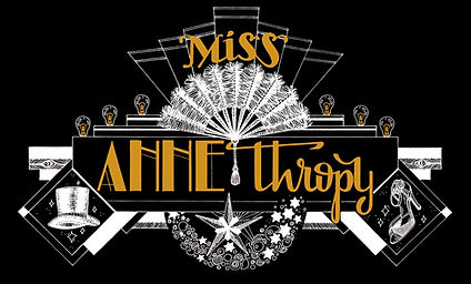 Logo for Miss Anne Thropy, burlesque performer, drawn by Poppy Mili.