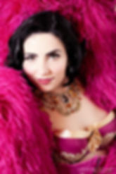 Burlesque performer Miss Anne Thropy and her Catherine D'Lish ostrich feather boa shot by Caroline Kühne.