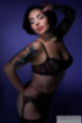 Pin-up model Miss Anne Thropy wearing Dita Von Teese lingerie shot by Caroline Kühne.