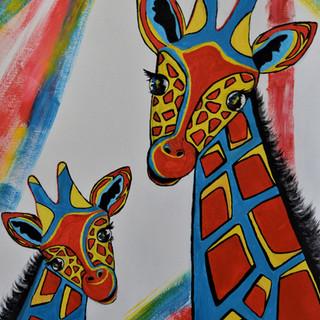 Three Colour Giraffes