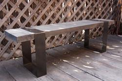 wood and metal band bench