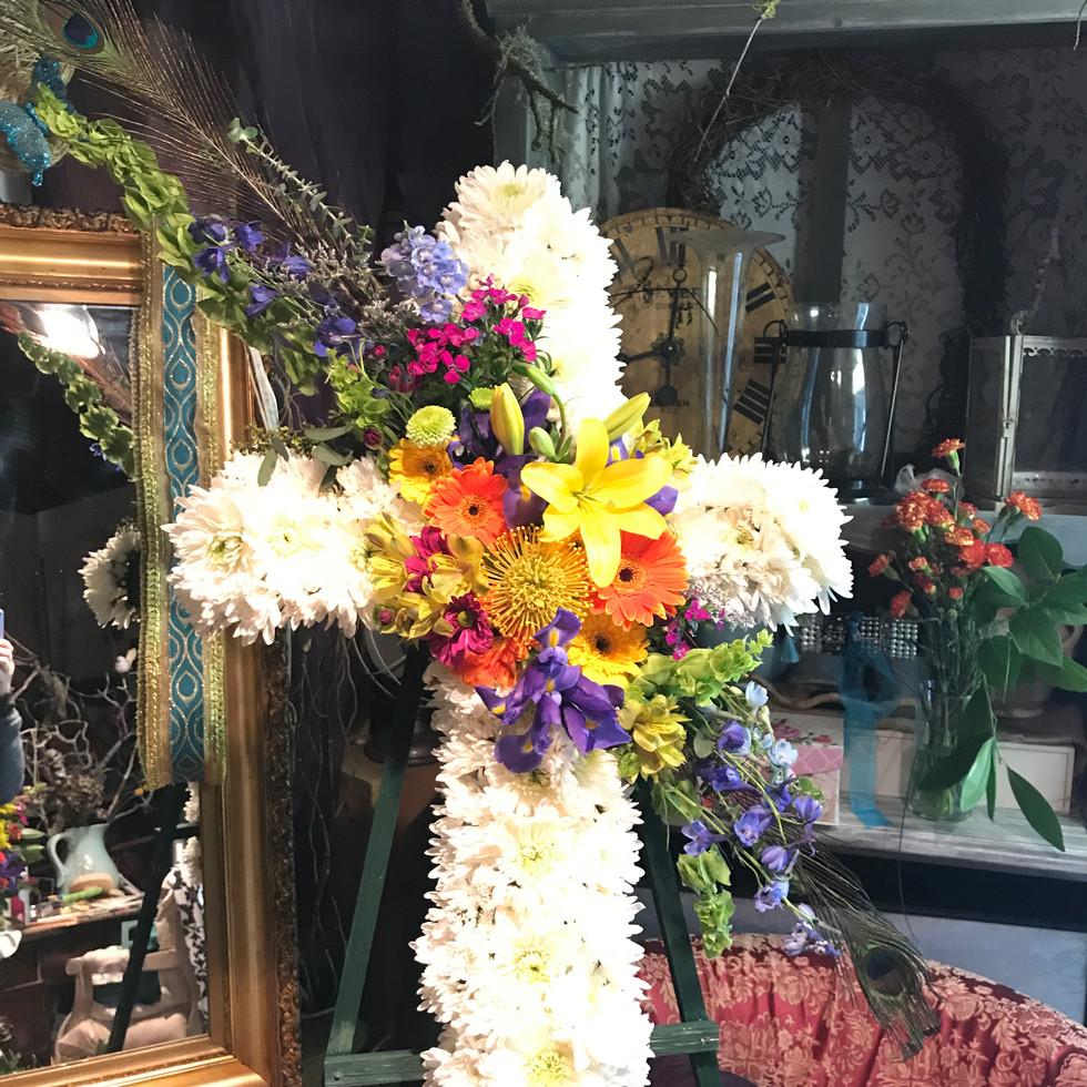 """24"""" Standing Cross funeral piece"""