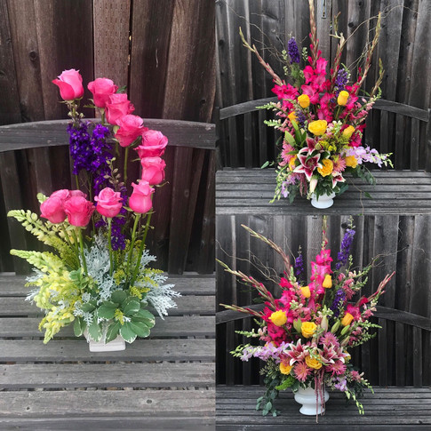 Colorful sympathy arrangements