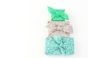 Fabric wrapped gifts, reusable sustainab