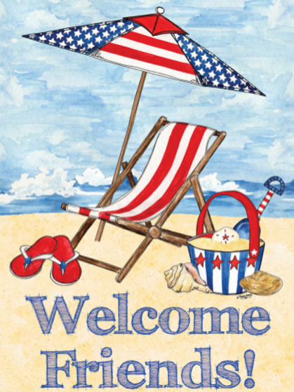 "WELCOME BEACH GARDEN FLAG 11""X15"""