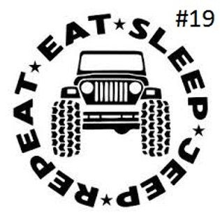 """JEEP EAT SLEEP REPEAT DECAL (5""""X5"""")"""