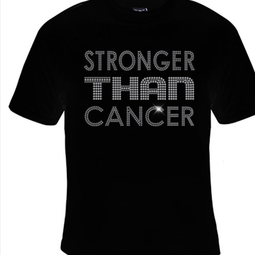STRONGER THEN CANCER RHINESTONE T-SHIRT
