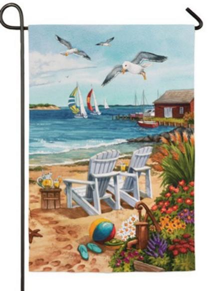"""BEACH SCENE (1) GARDEN FLAG 11""""X15"""""""