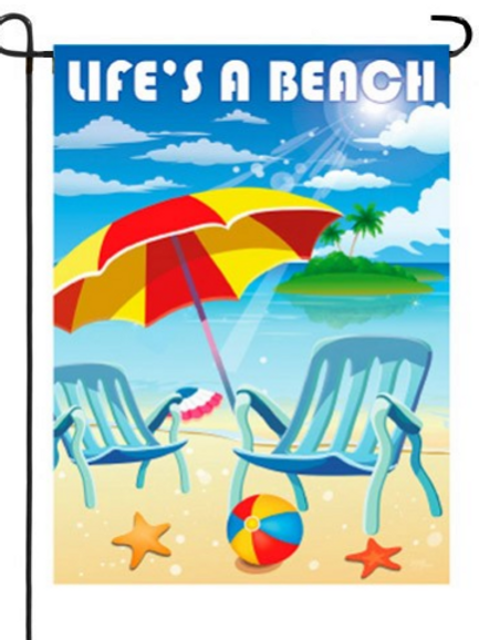 """LIFE'S A BEACH GARDEN FLAG 11""""X15"""""""