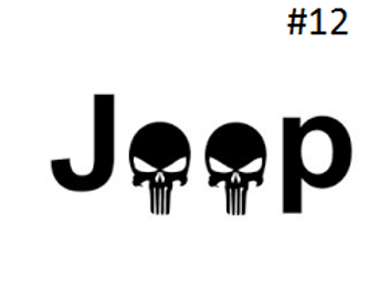 "JEEP SKULL LETTERING DECAL (5""X5"")"