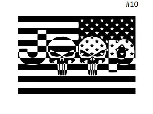 "JEEP SKULL FLAG DECAL (5""X5"")"