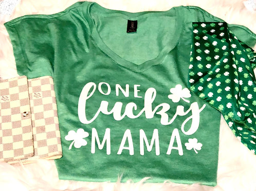 ONE LUCKY MAMA V-Neck Womans T-Shirt