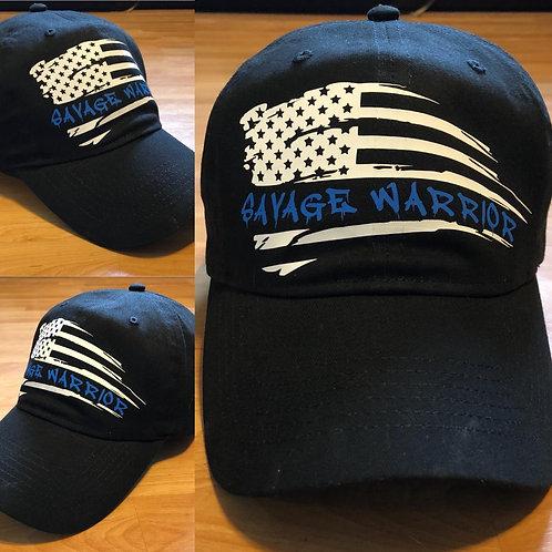 Savage Warrior Distressed Blue Line Hat